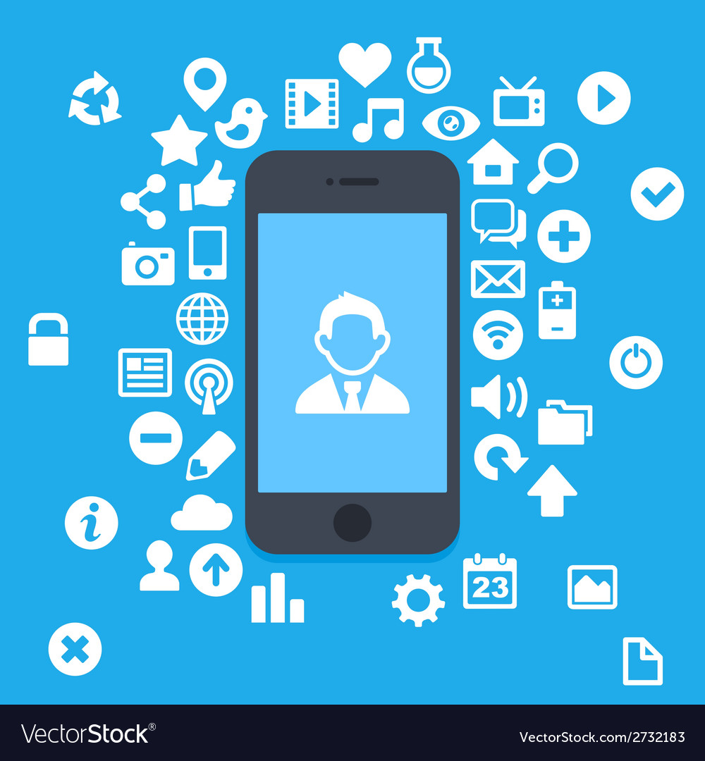 Flat Style Smartphone With Applications and UI vector image