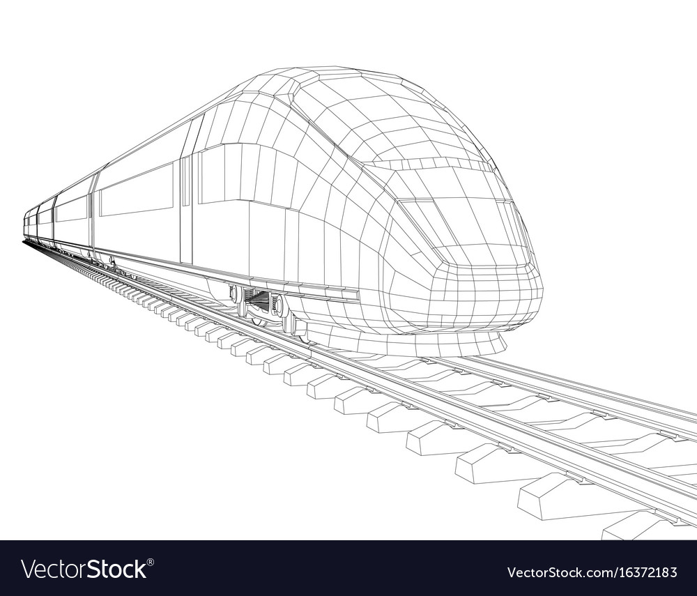 High speed train in motion vector image