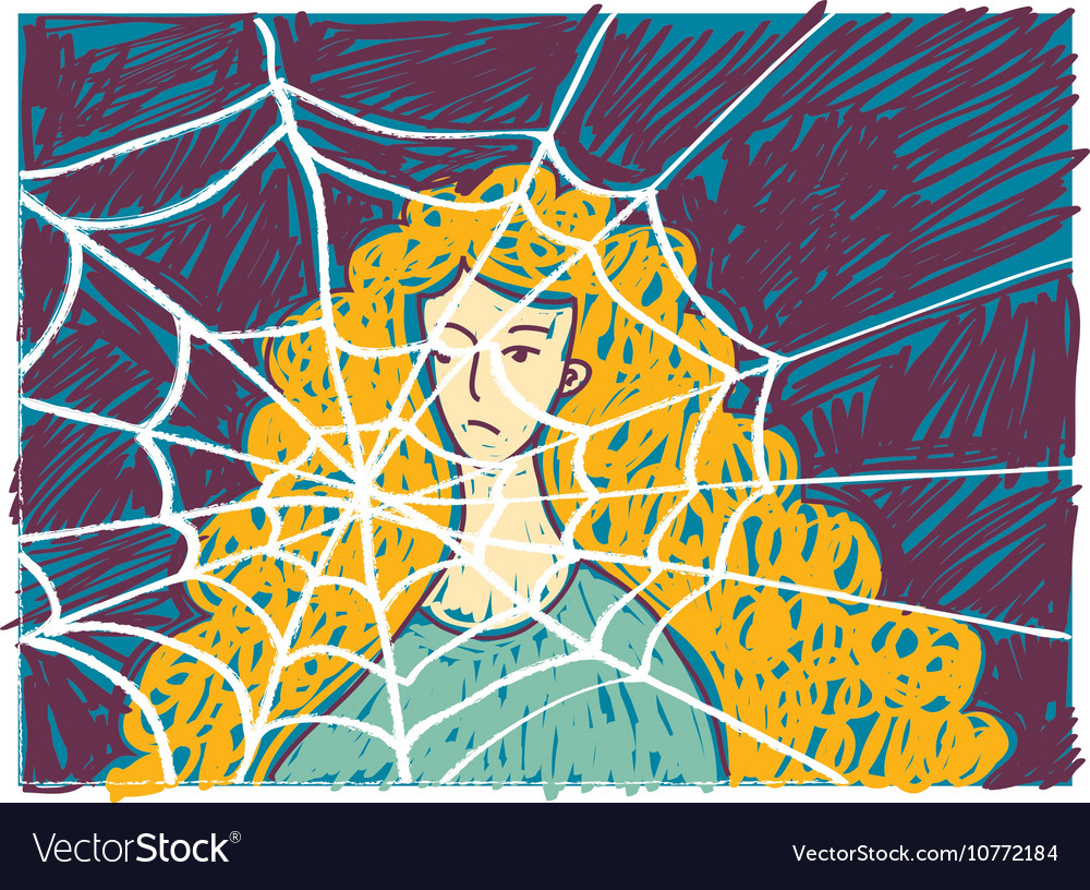 Pretty young unhappy woman in depression doodles vector image