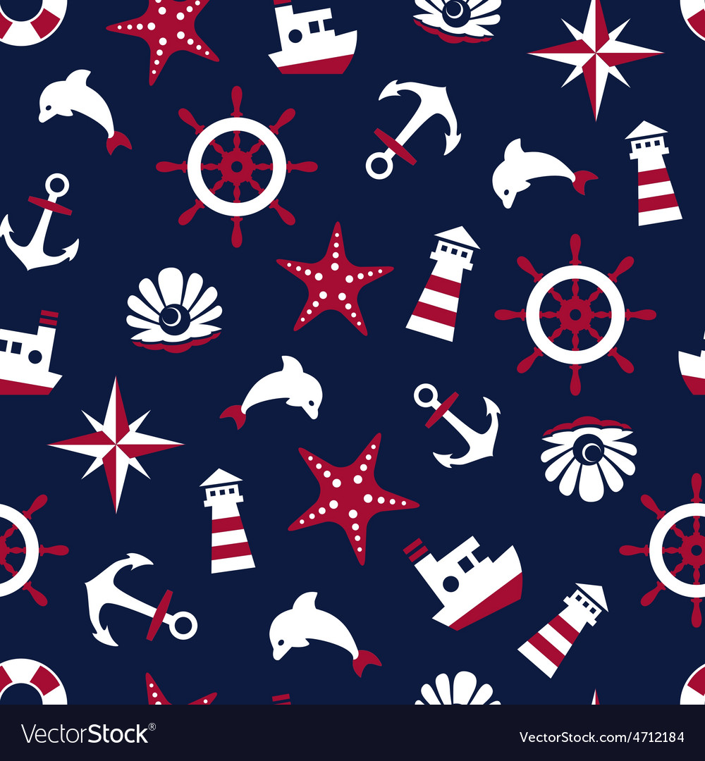 Sea signs on a blue background seamless pattern vector image