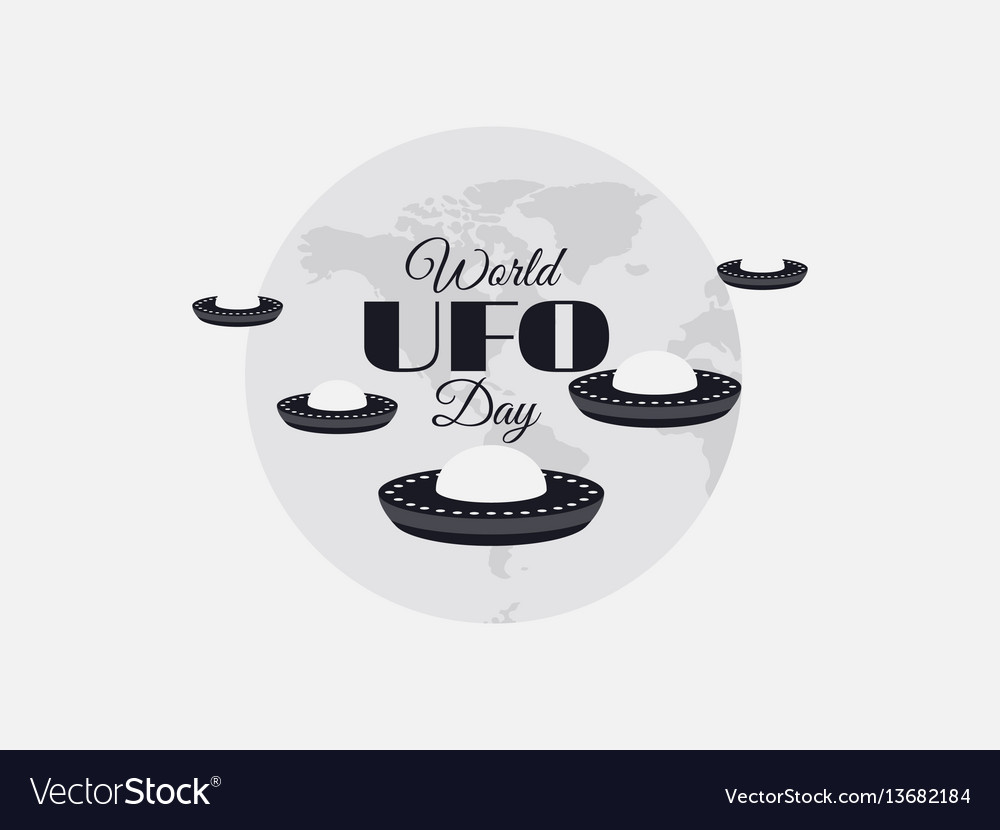 World ufo day planet and spaceship flying vector image