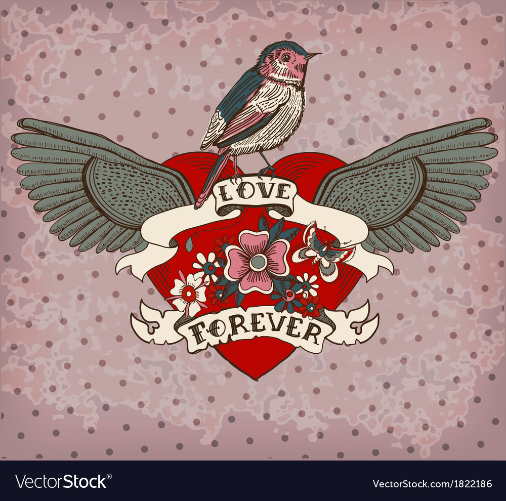 Old-school style tattoo card with bird flowers and vector image