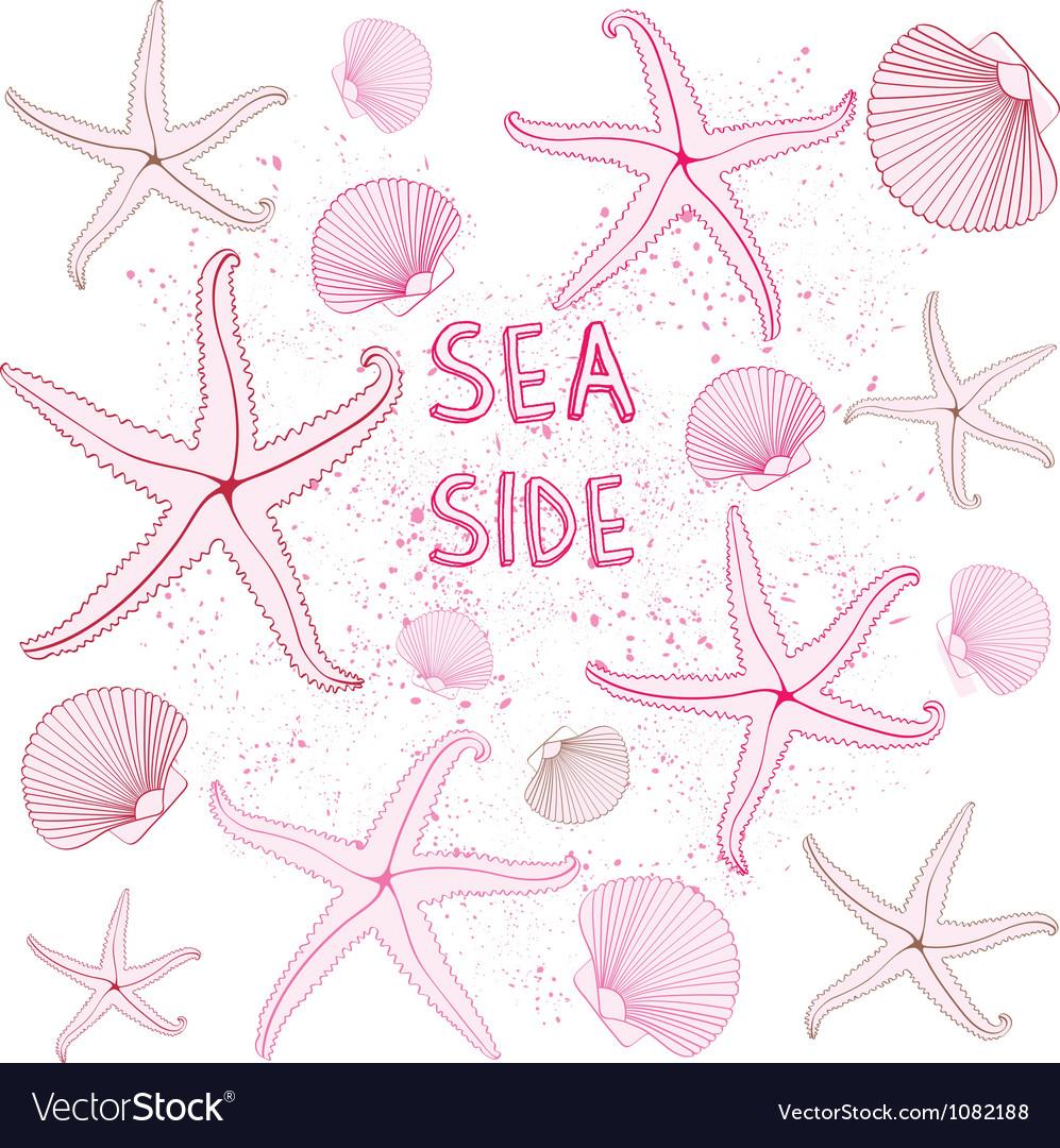 Seaside Seashells background vector image