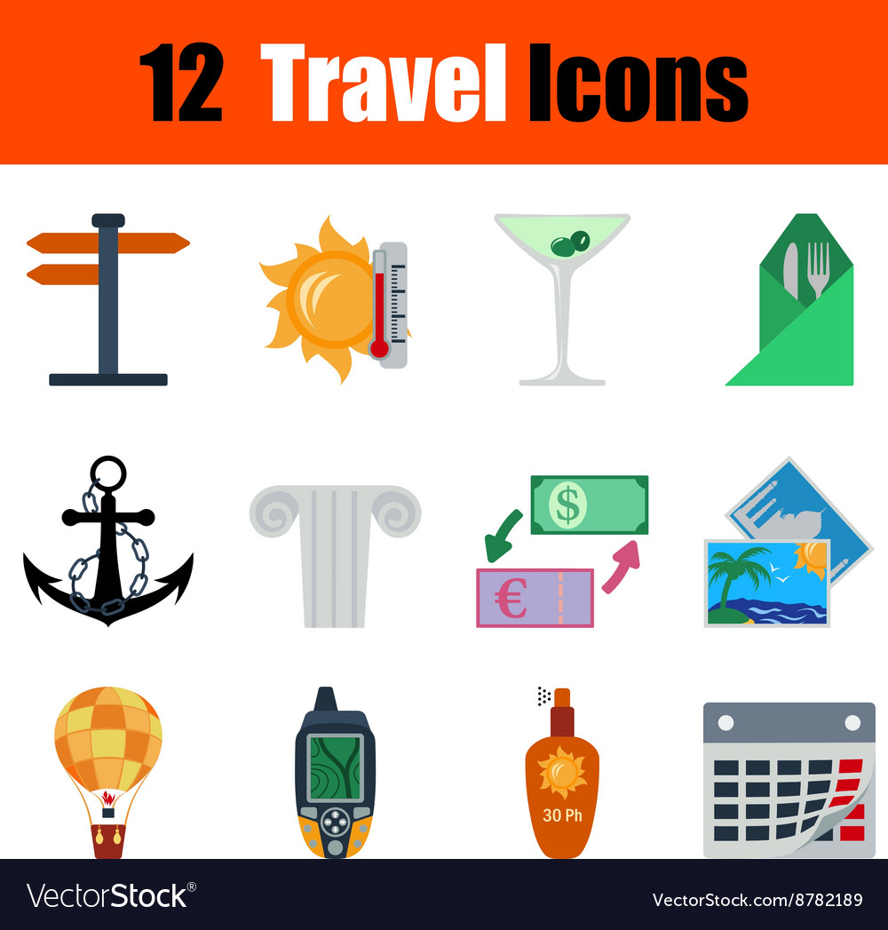 Flat design travel icon set vector image