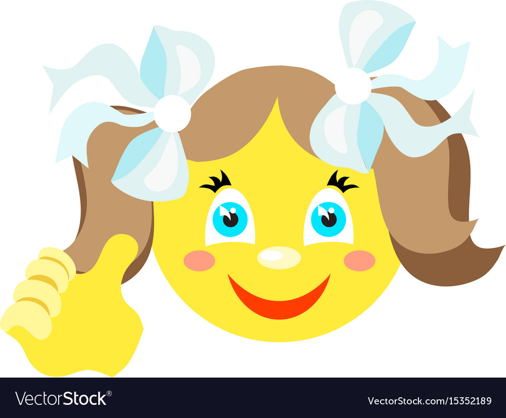 Smiley girl with a thumbs up gesture vector image