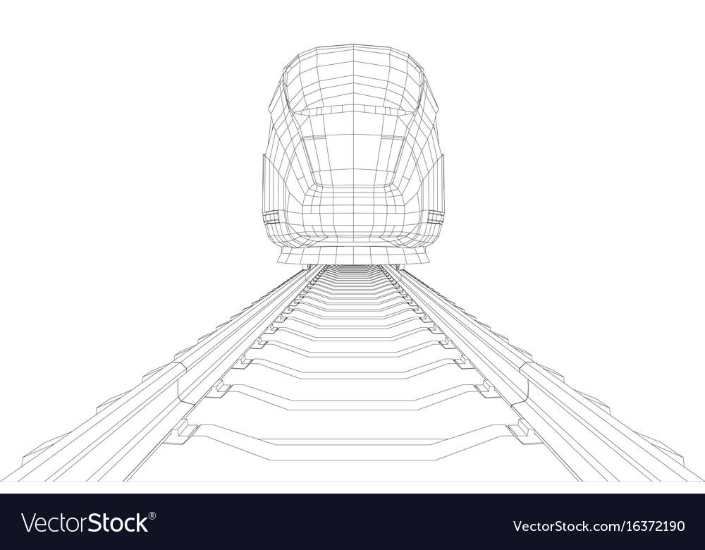 Modern speed train silhouette vector image