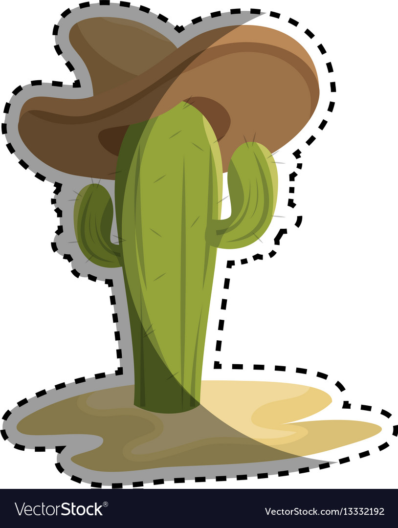Sticker animated sketch cactus with mexican hat in vector image
