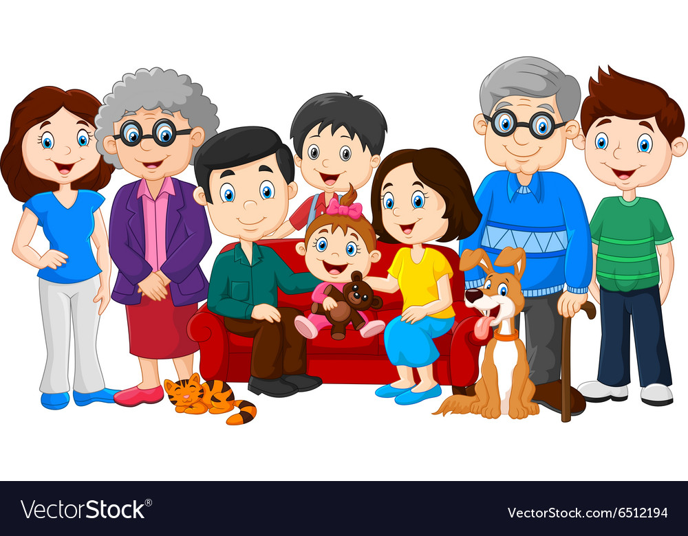 Big family with grandparents isolated vector image