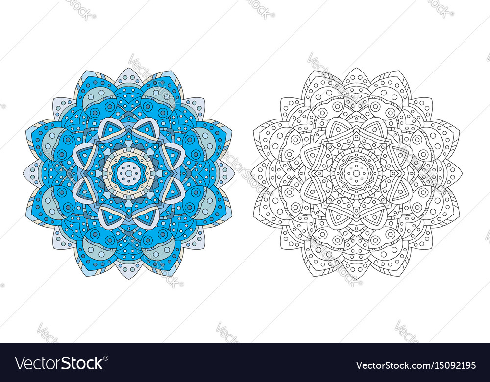 Flower Mandala Coloring Page Vector Image