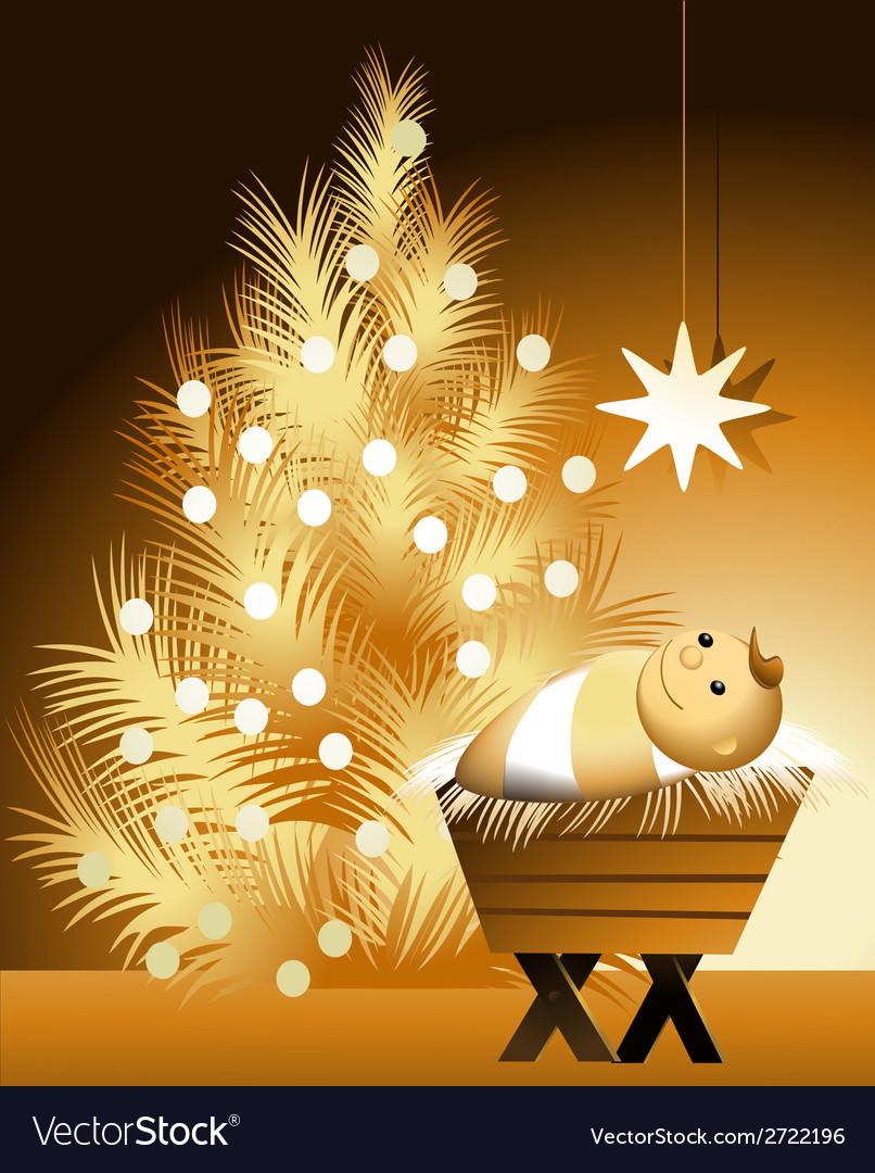 Christmas scene with baby Jesus vector image