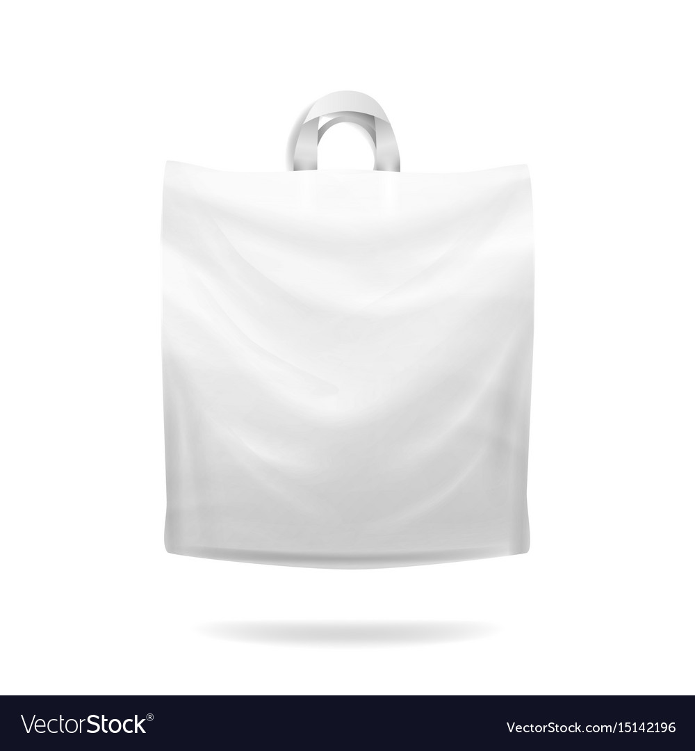 Plastic shopping bag white empty realistic vector image
