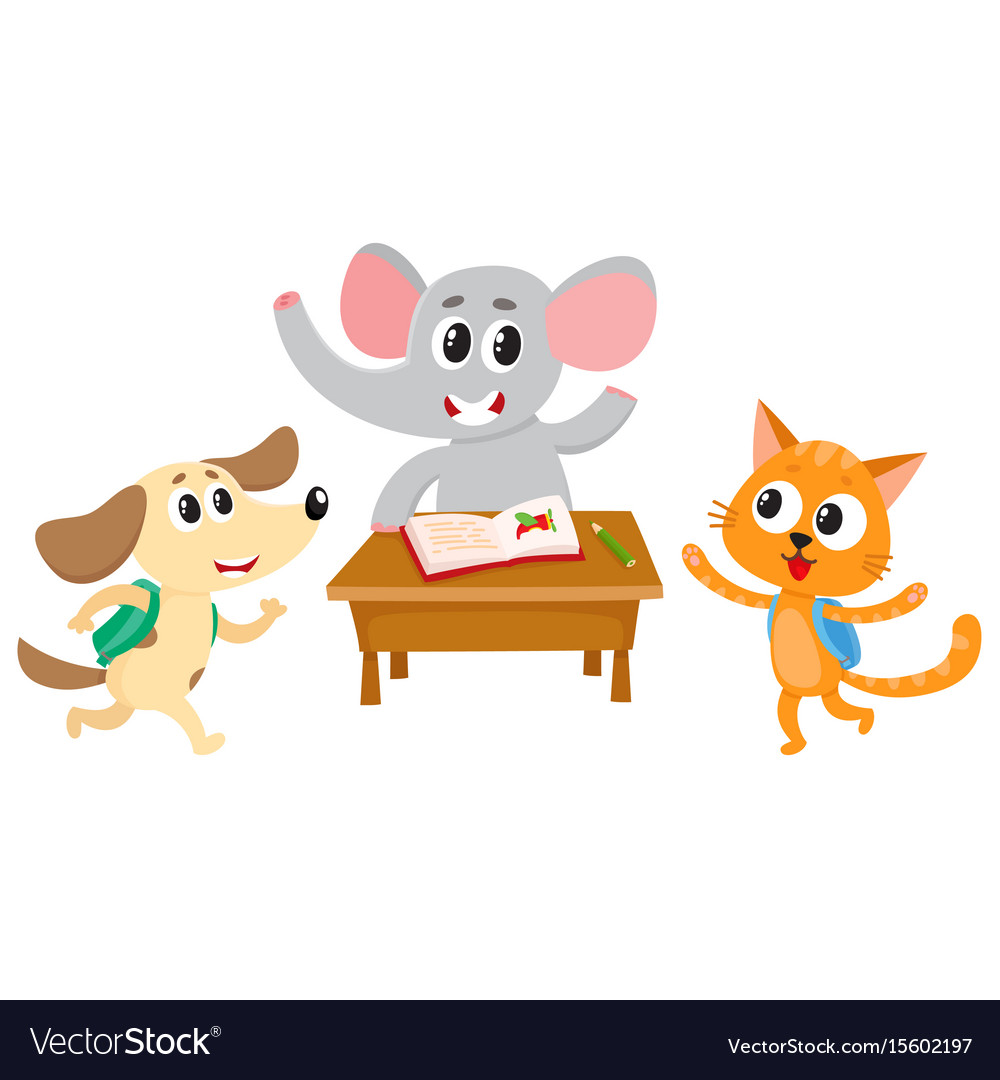 Animal students - elephant cat and dog back to vector image
