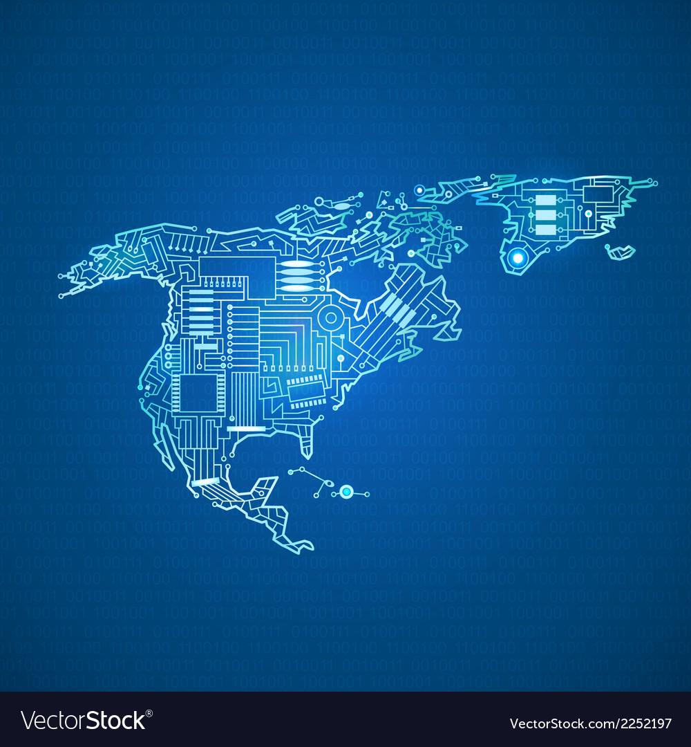 Contour mainland North America vector image