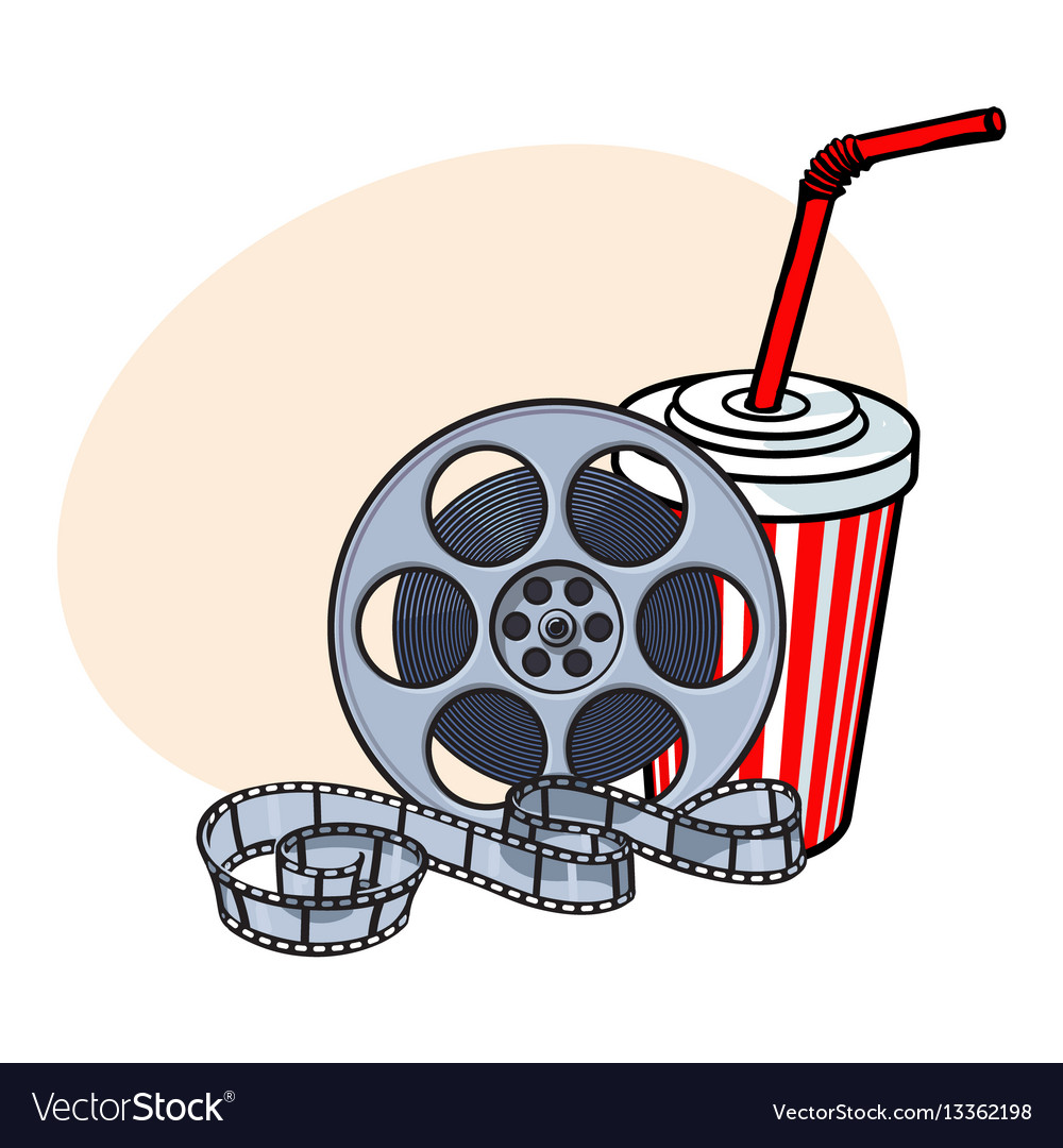 Cinema attributes film reel and soda water in vector image