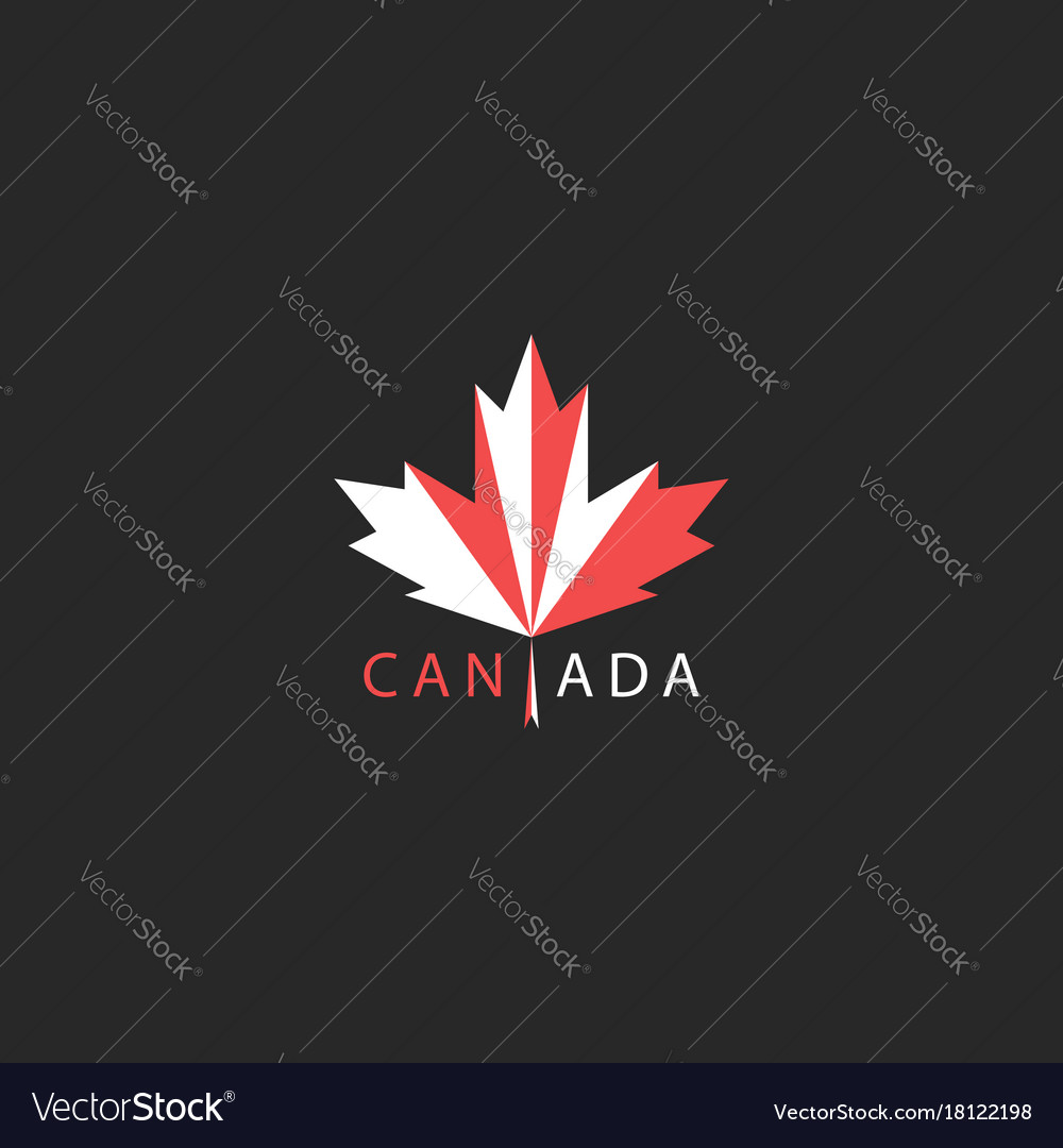 Maple leaf logo canada traditional red and white vector image