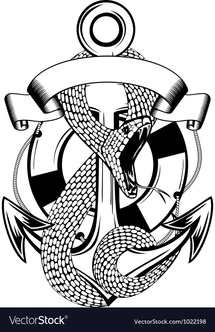 Snake anchor and ring buoy vector image
