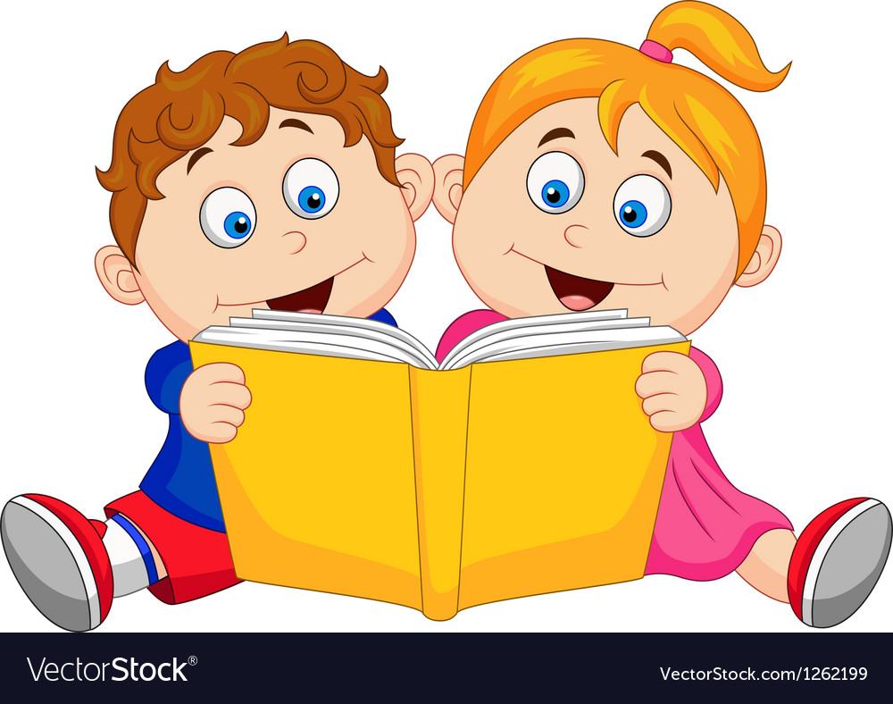 Children Reading Stock Vector Art More Images Of Baby: Children Cartoon Reading A Book Royalty Free Vector Image