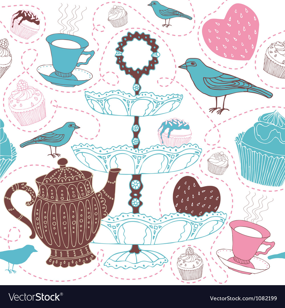 Cupcakes Decorative Pattern vector image