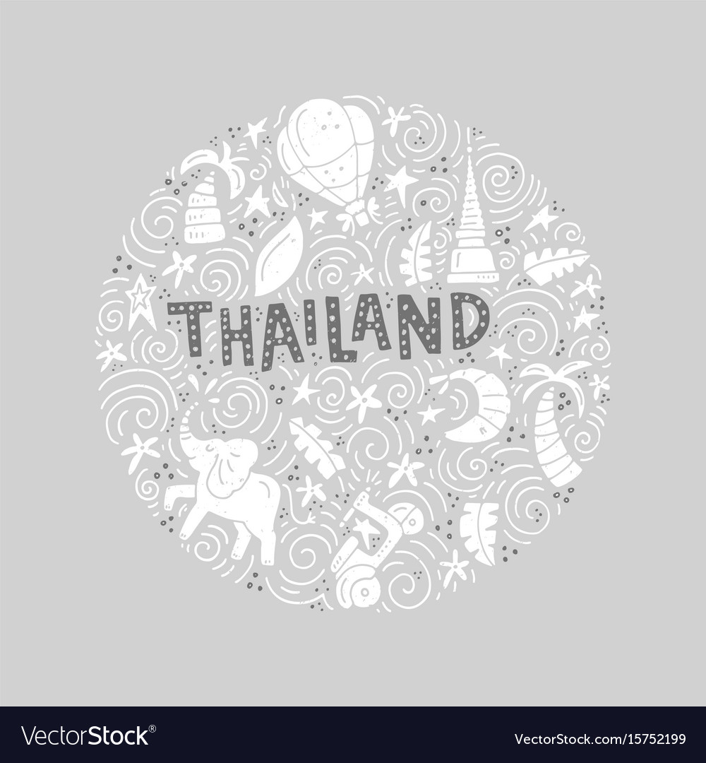 Thailand round concept vector image