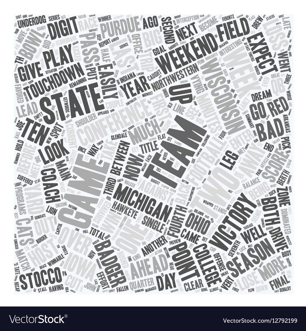 The Big Ten Report text background wordcloud vector image