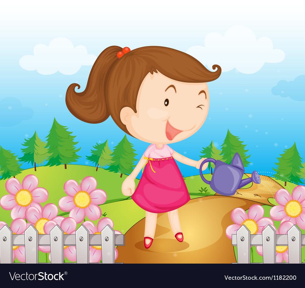 Cartoon Garden Girl vector image