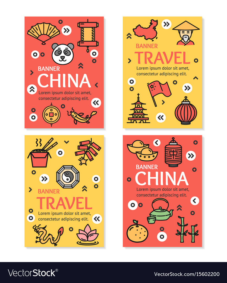 China asian country travel flyer banner placard vector image