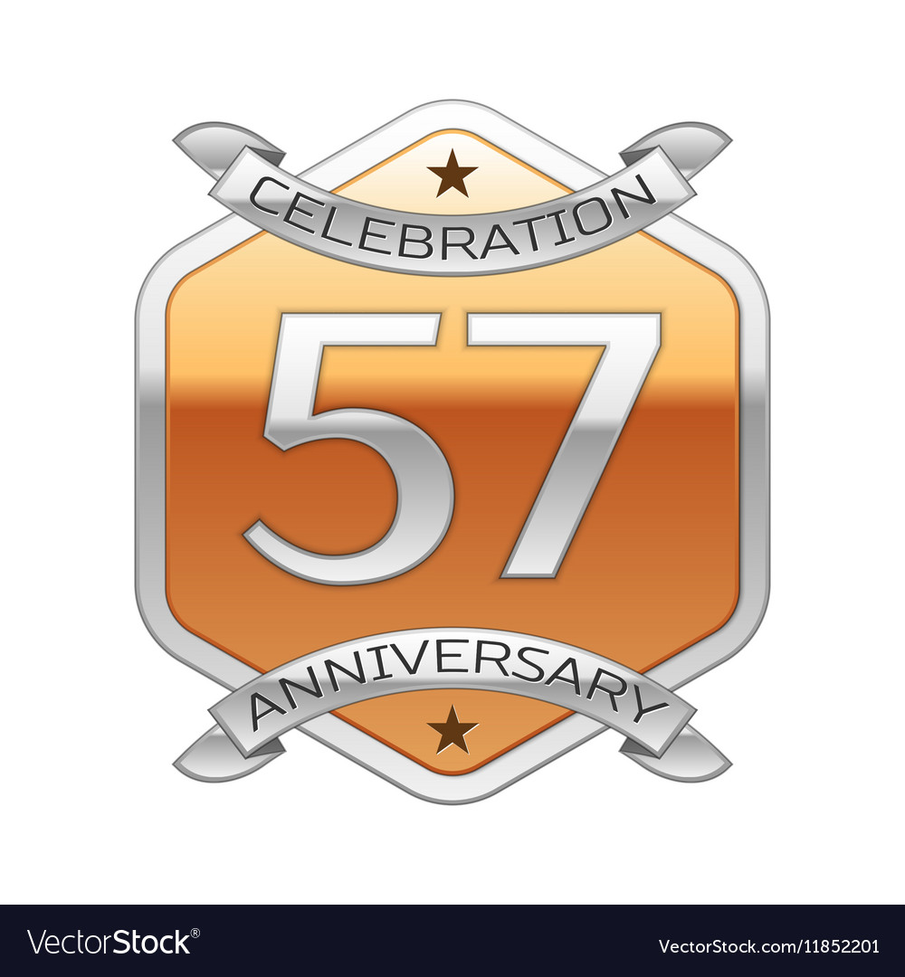 Fifty Seven Years Anniversary Celebration Silver Vector Image