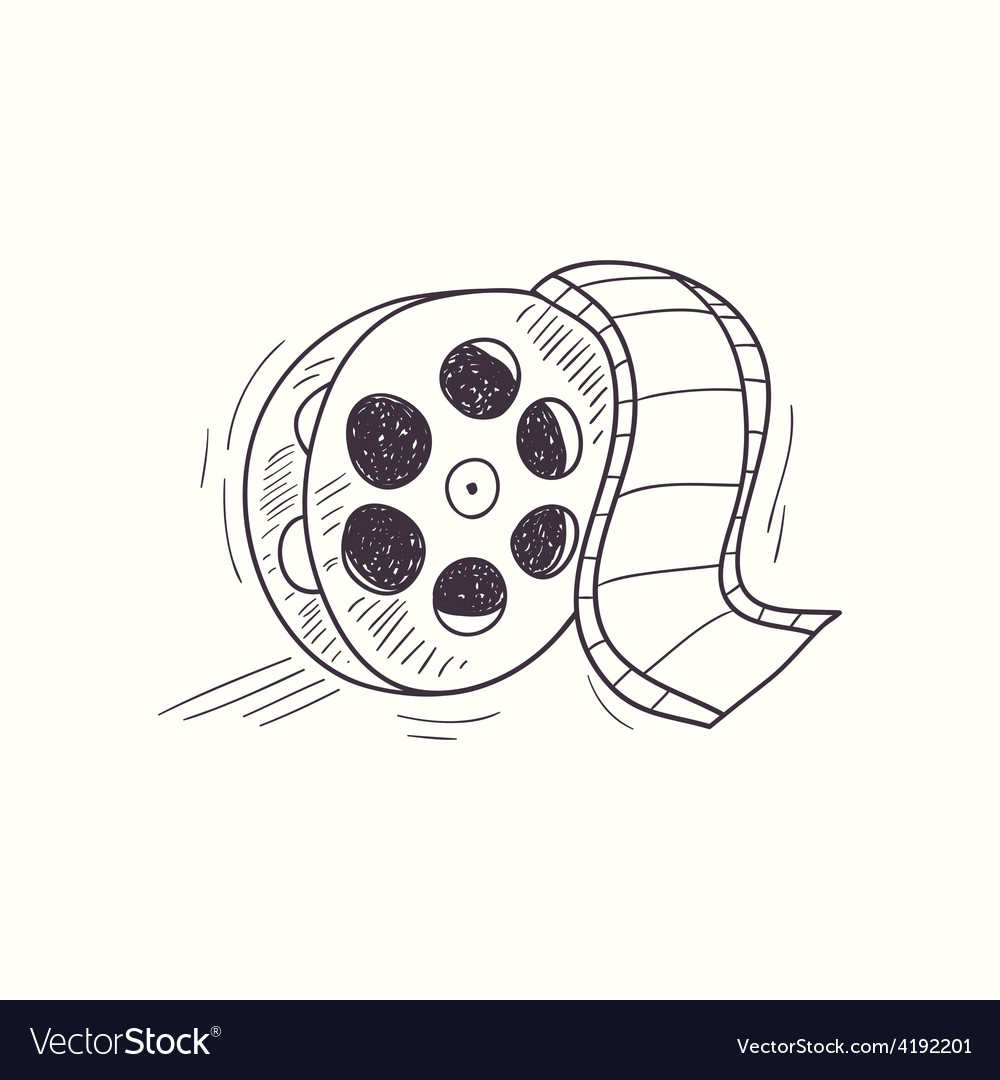Sketched film reel desktop icon vector image