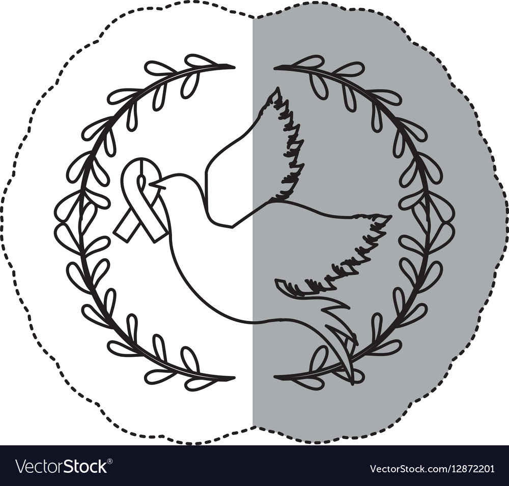 Sticker ornament with silhouette pigeon wiht vector image