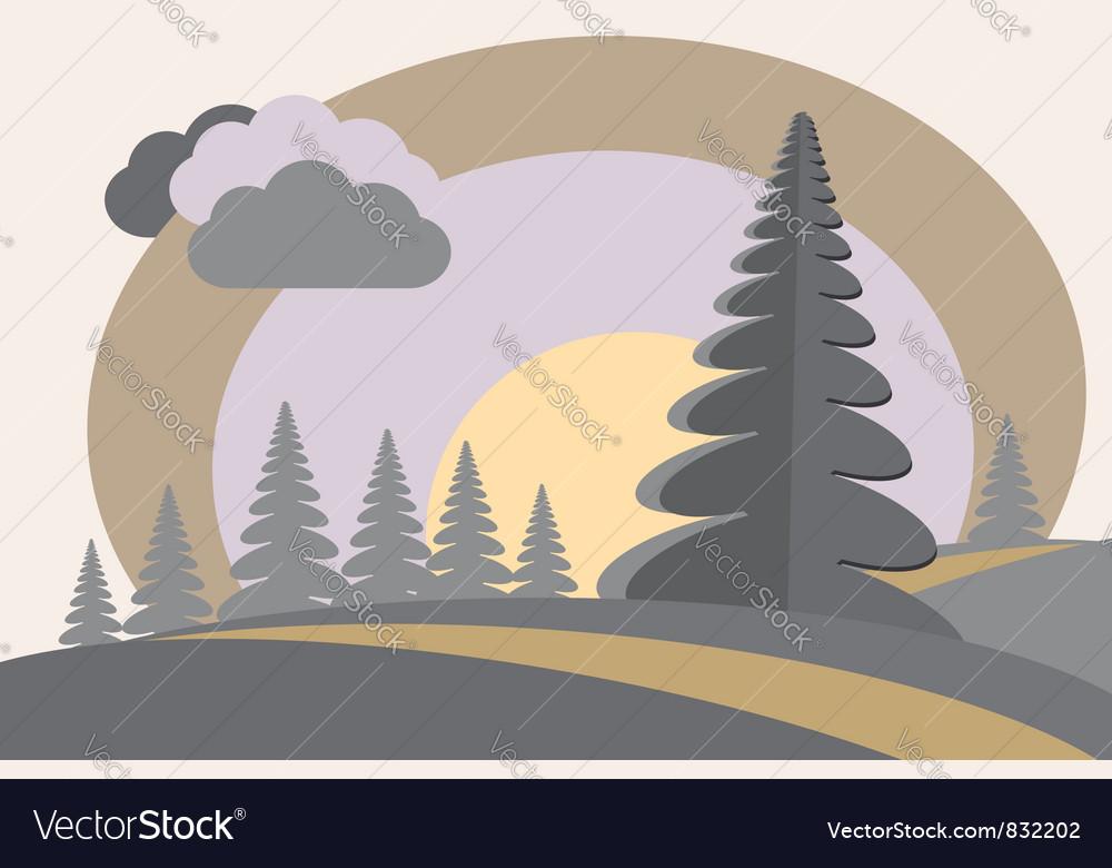 Fir tree hills sun cloud vector image