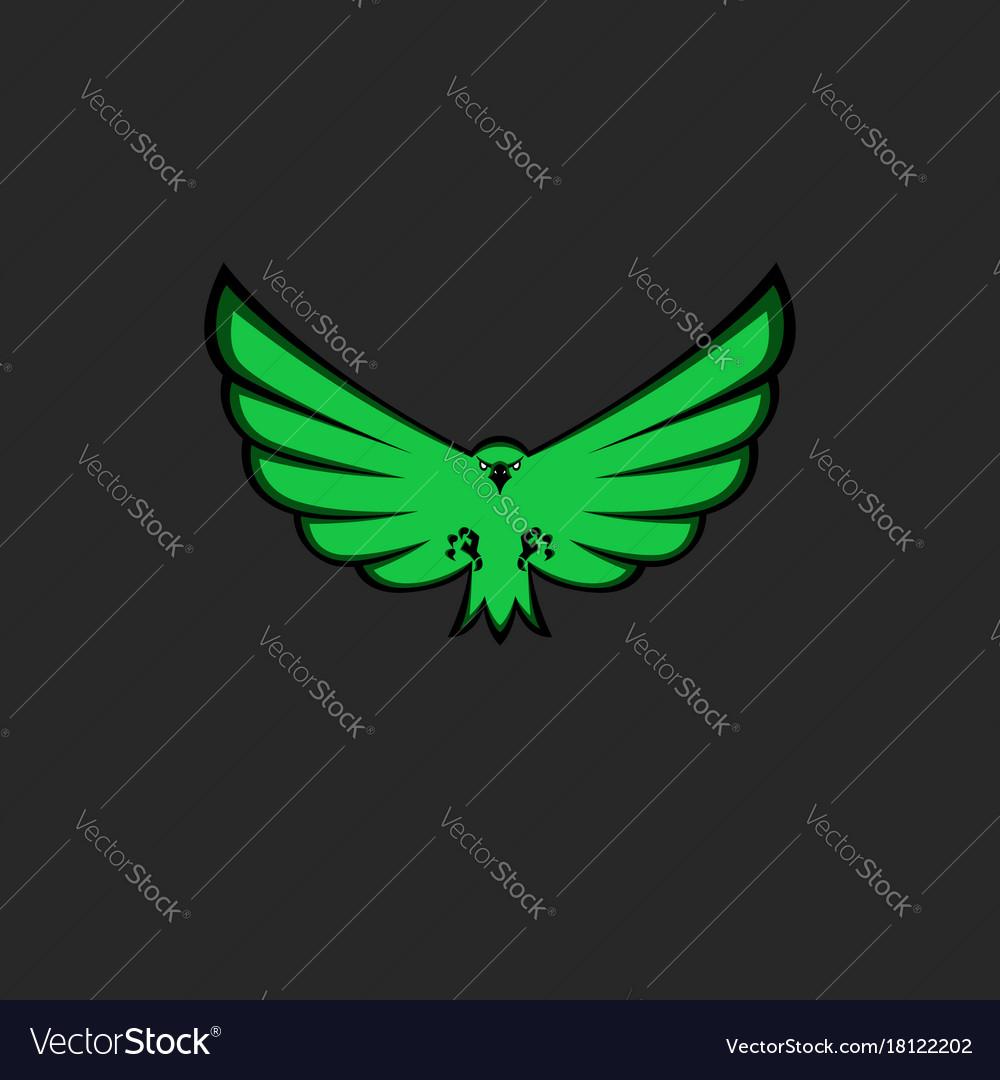 Eagle mascot emblem of green color for esport team vector image