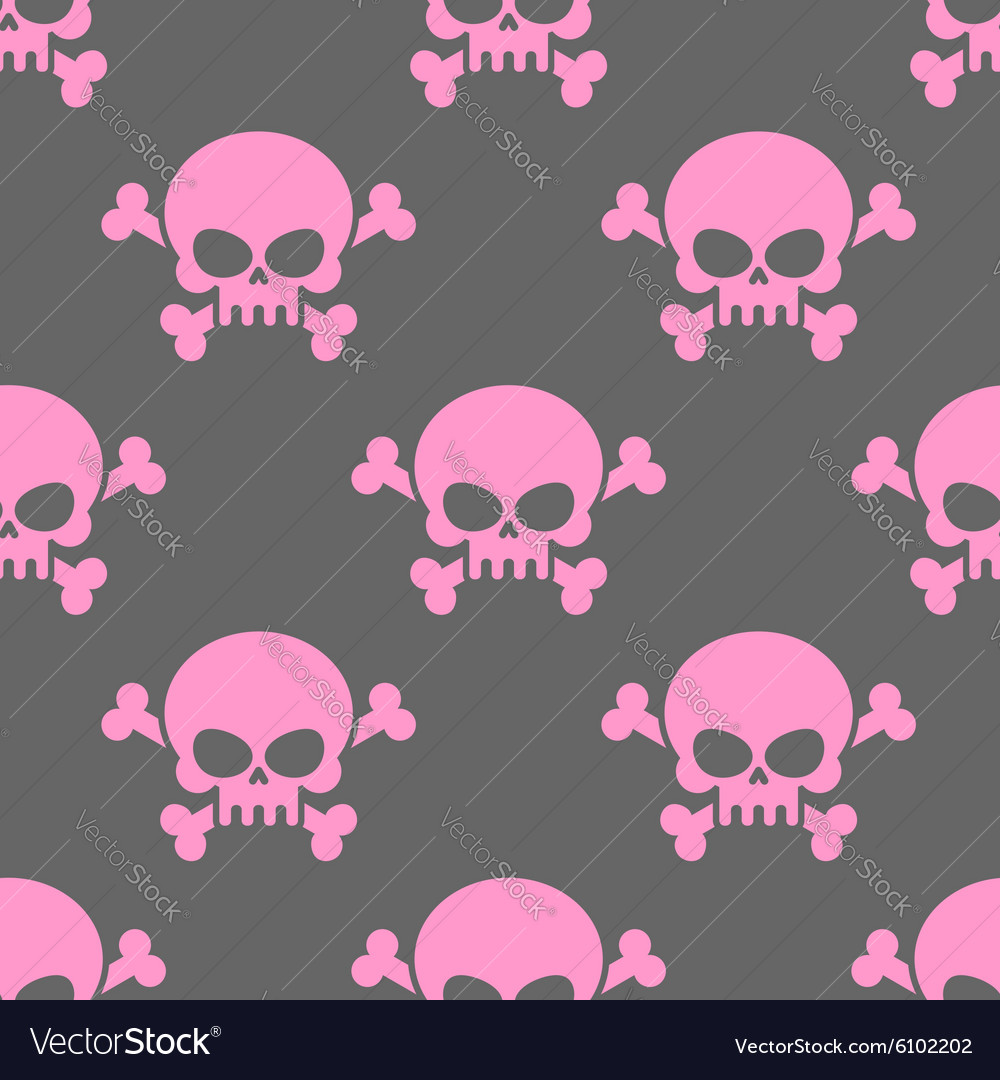 Pink skull on a grey background seamless pattern vector image