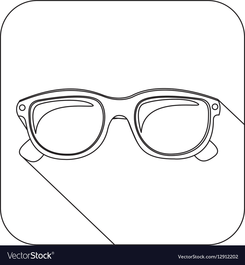 Square shape with silhouette oval glasses lens vector image
