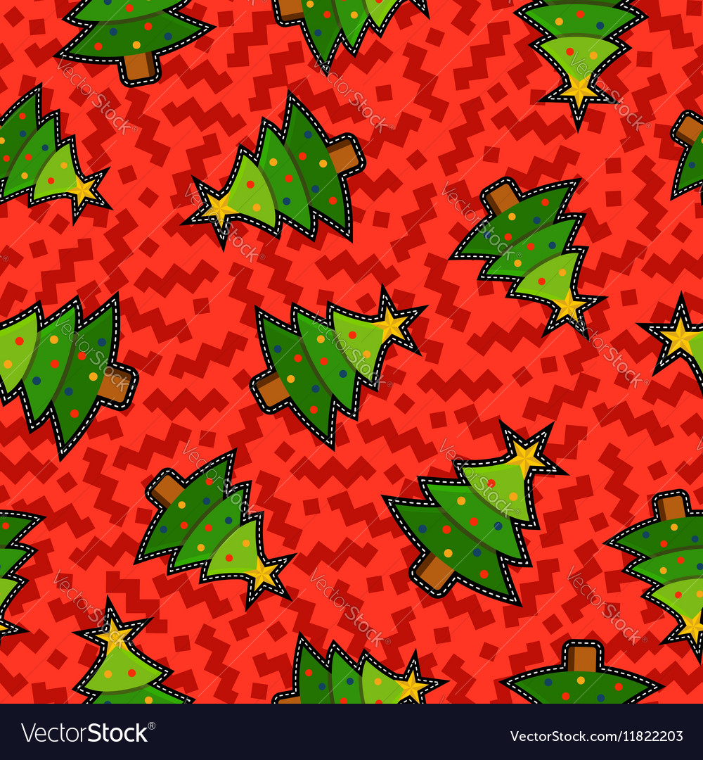 Christmas pine tree patch icon pattern background vector image