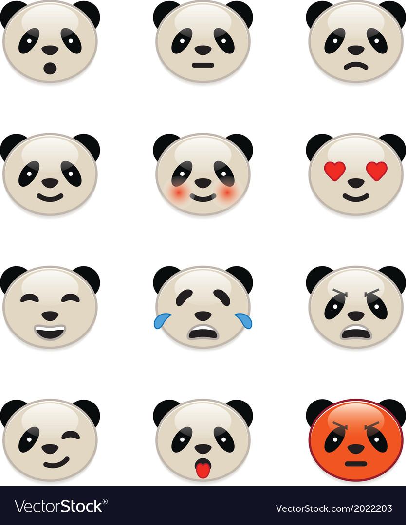 Panda bear emotion icons vector image