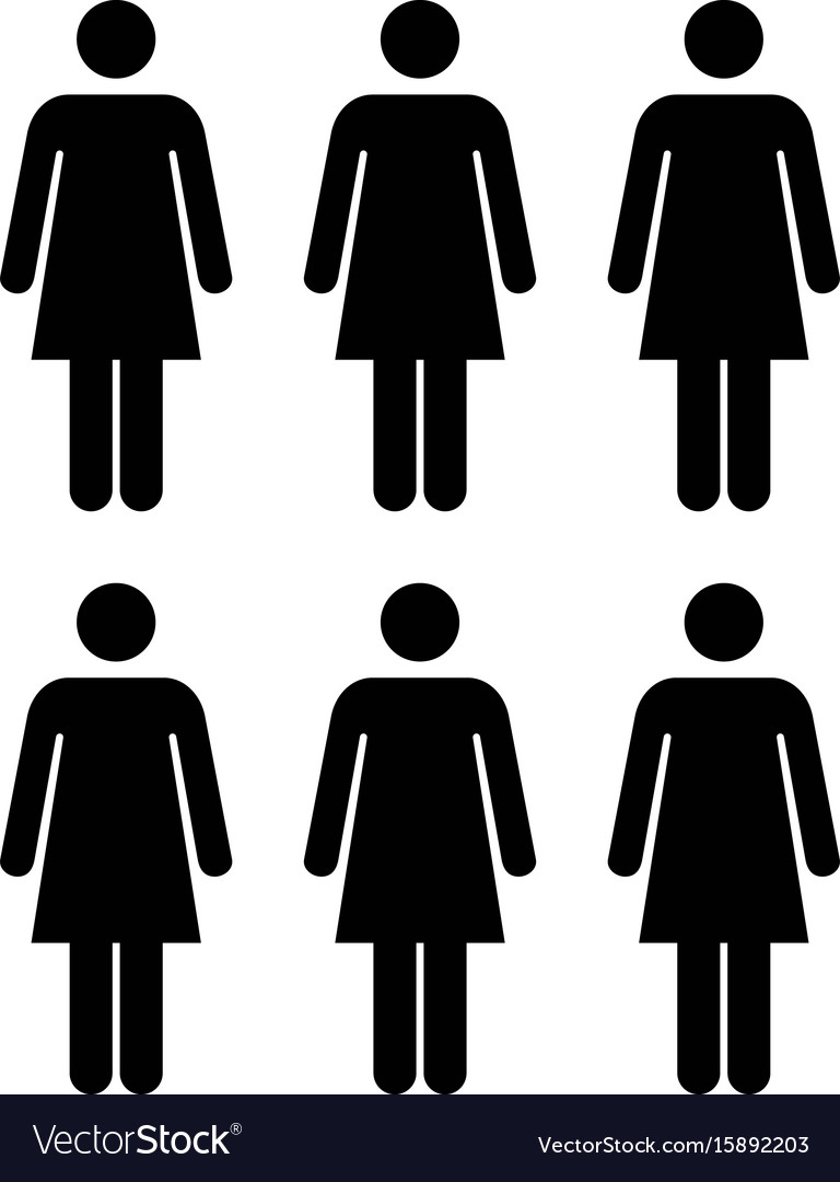 People icon group of women team glyph pictogram vector image