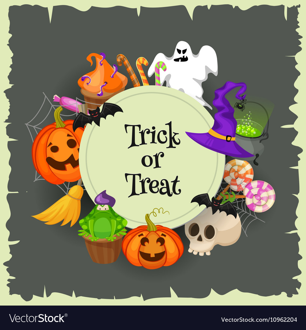 Trick or treat Halloween poster background card vector image
