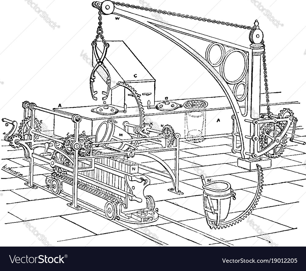 Furnace apparatus for minting vintage vector image