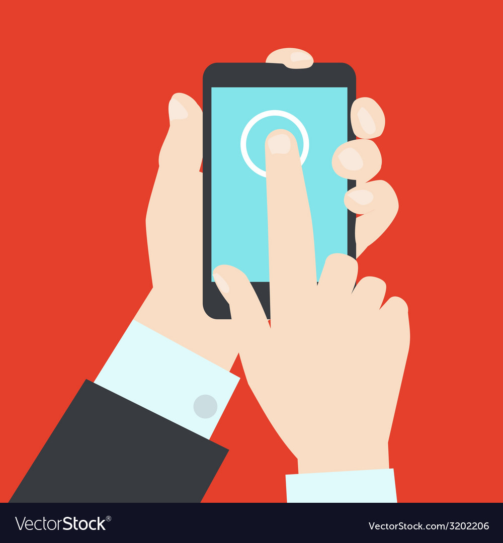 Modern style of hands with mobile gadget vector image