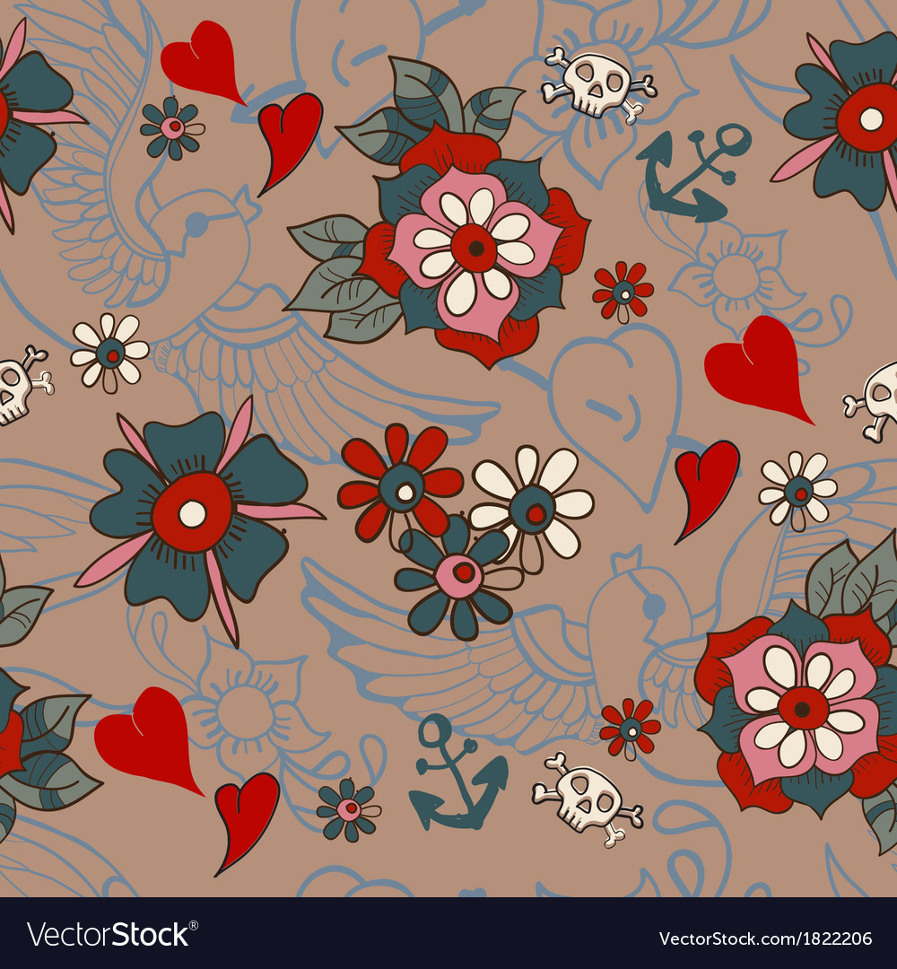 Seamless Vintage pattern with flowers for vector image
