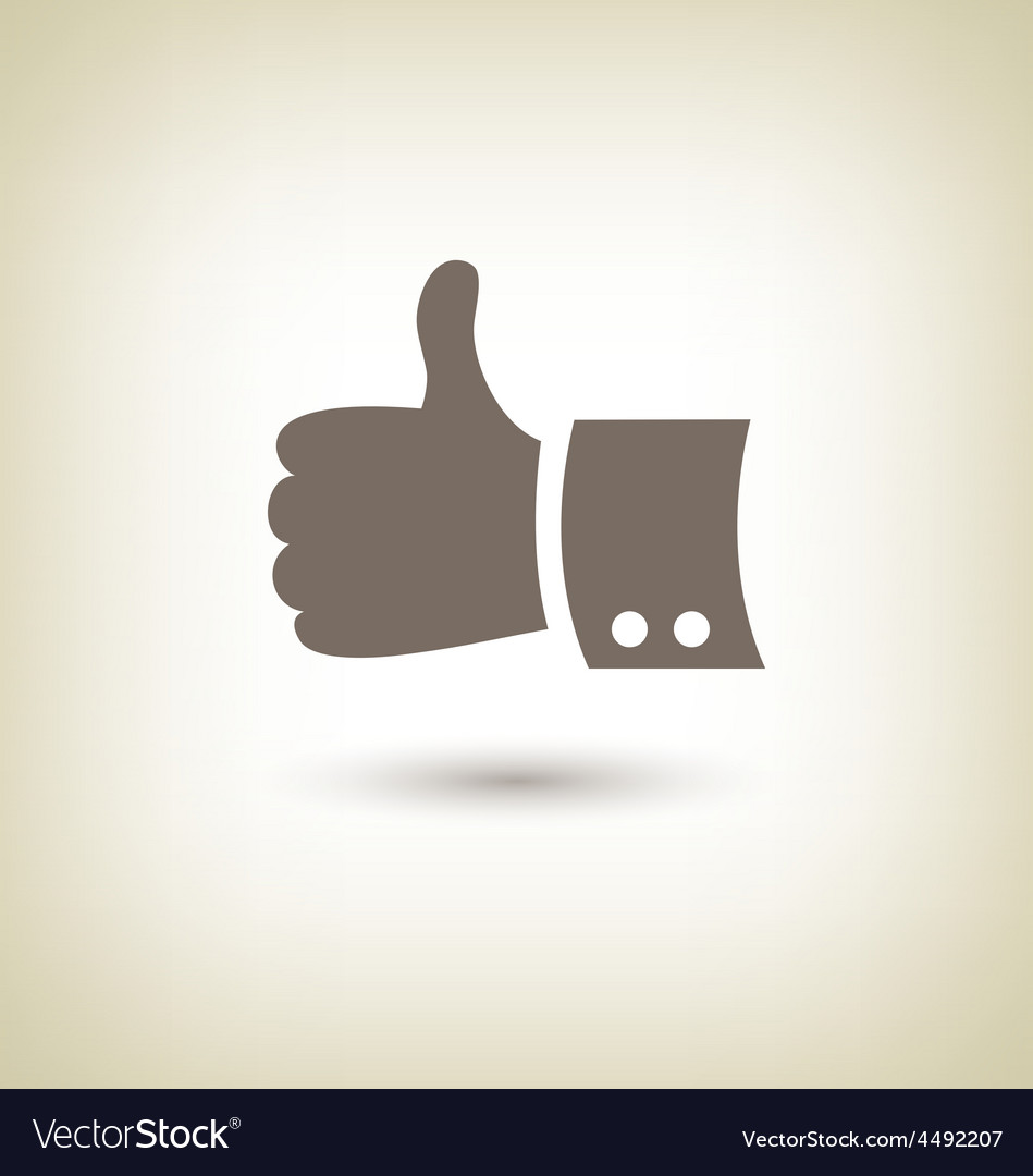 Thumb up gesture Good icon hand on beige vector image