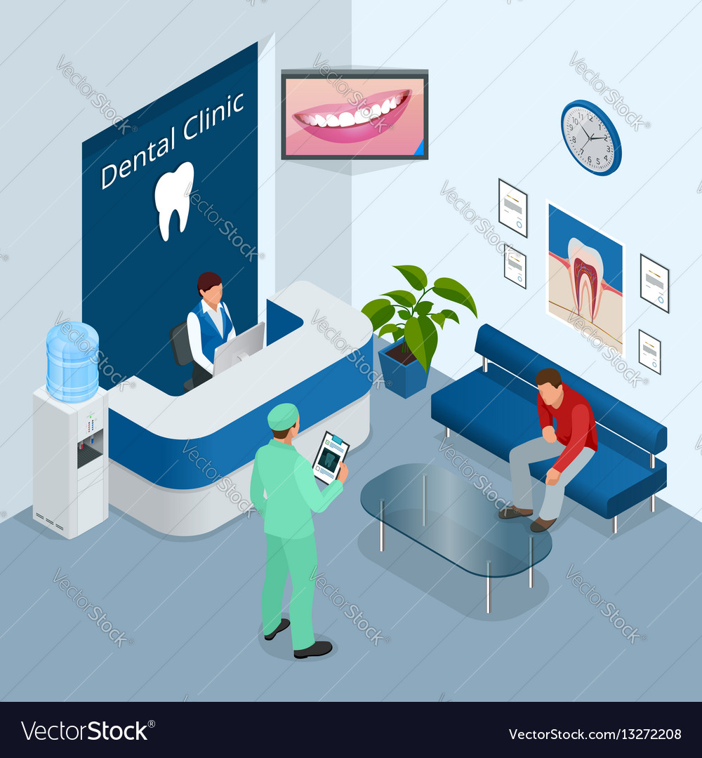Isometric modern dental practice dental chair and vector image