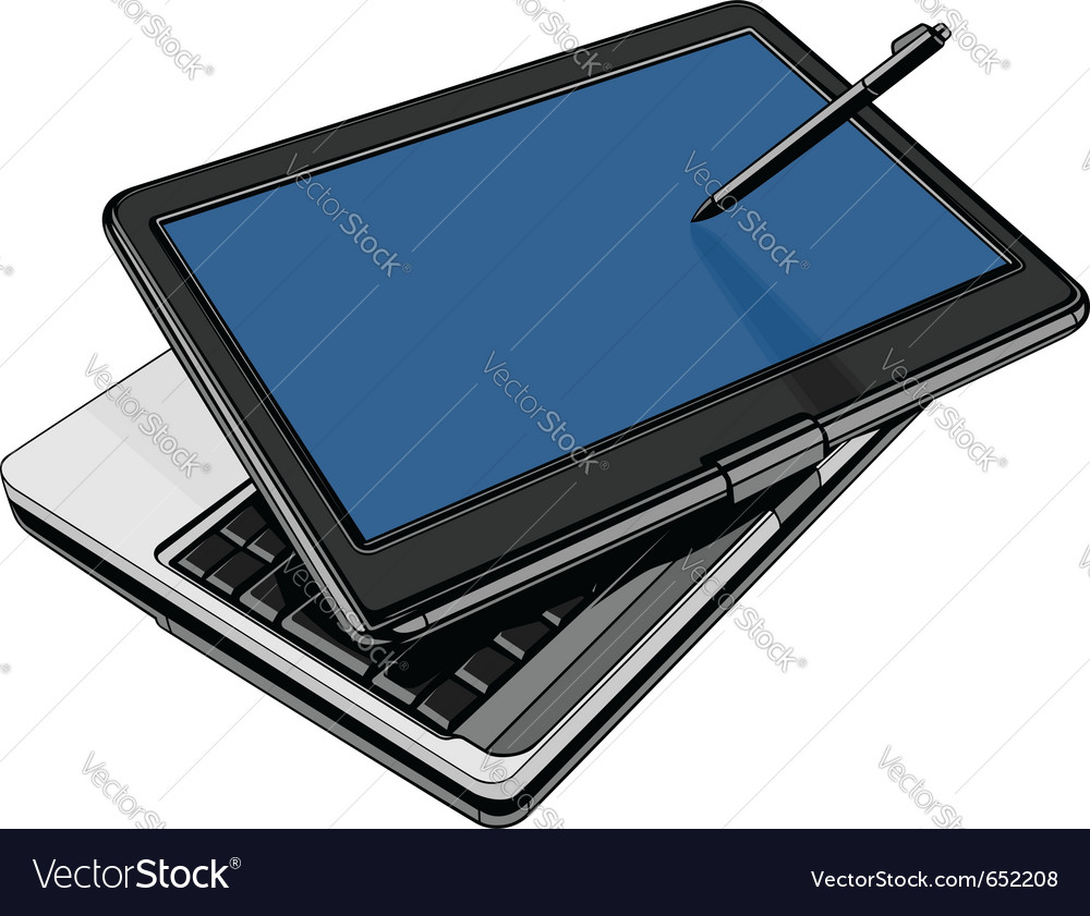Modern laptop with rotating touch screen vector image
