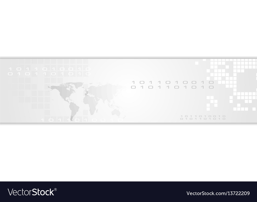 Grey abstract technology banner header vector image
