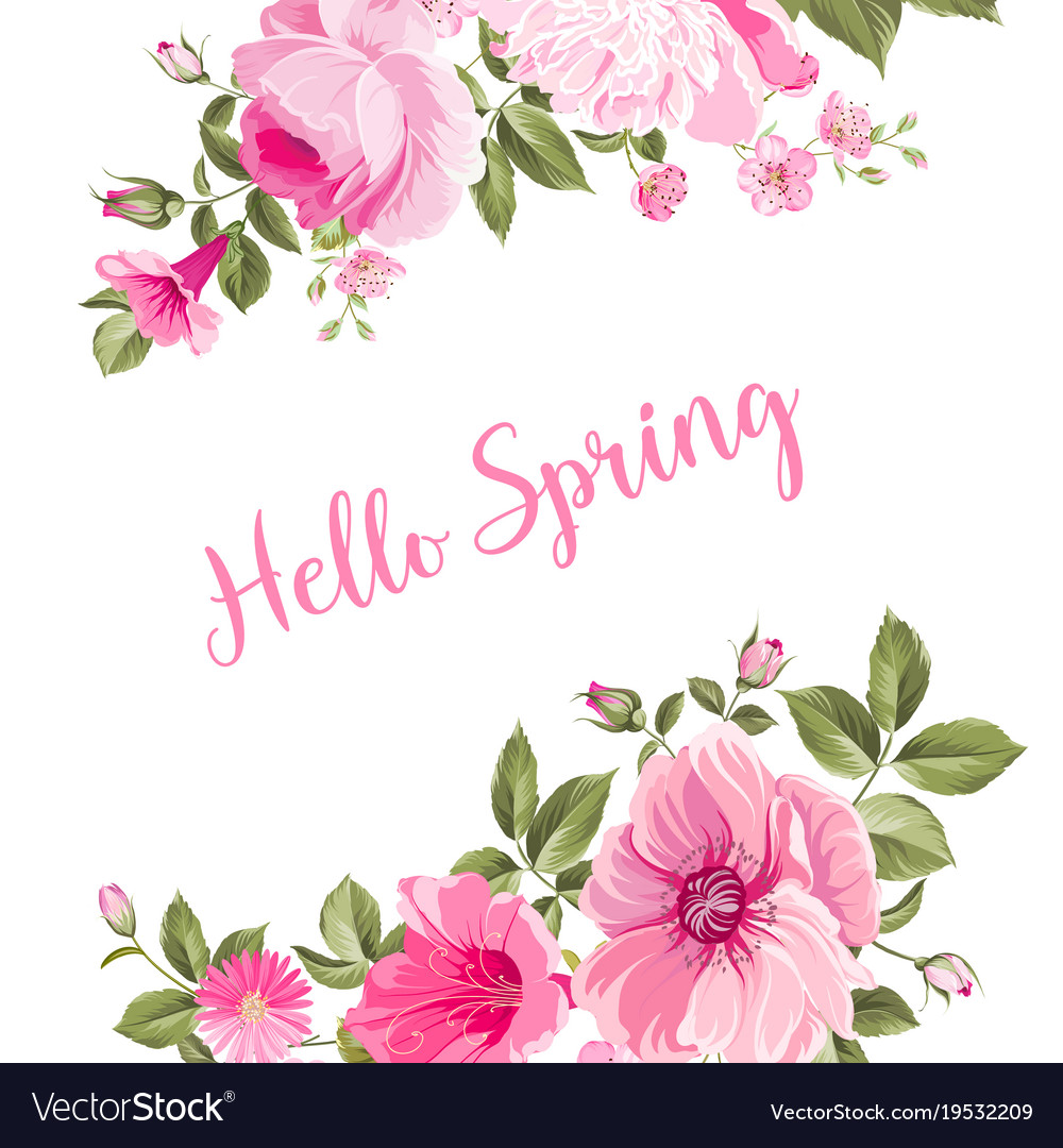 Delicieux Hello Spring Card Vector Image
