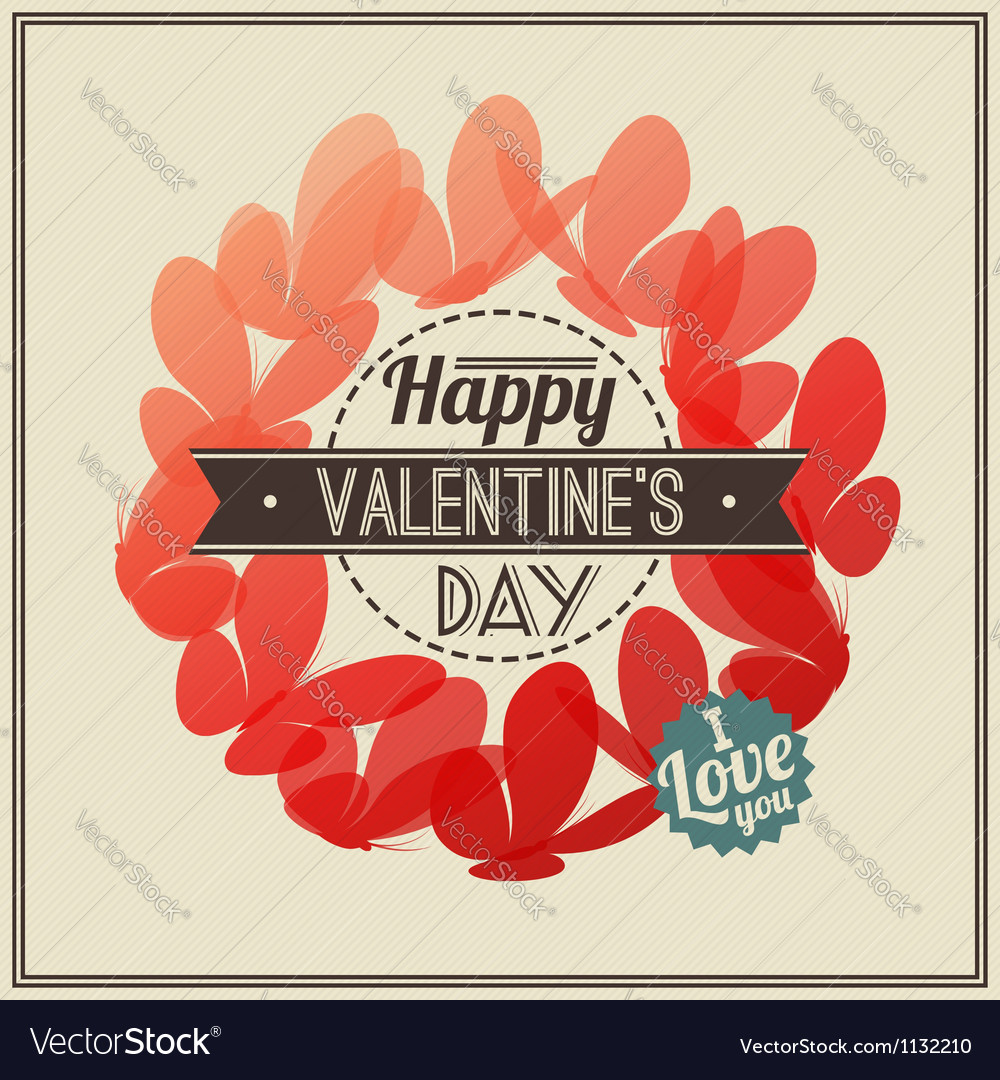 Retro Valentines Day greeting with butterflies vector image