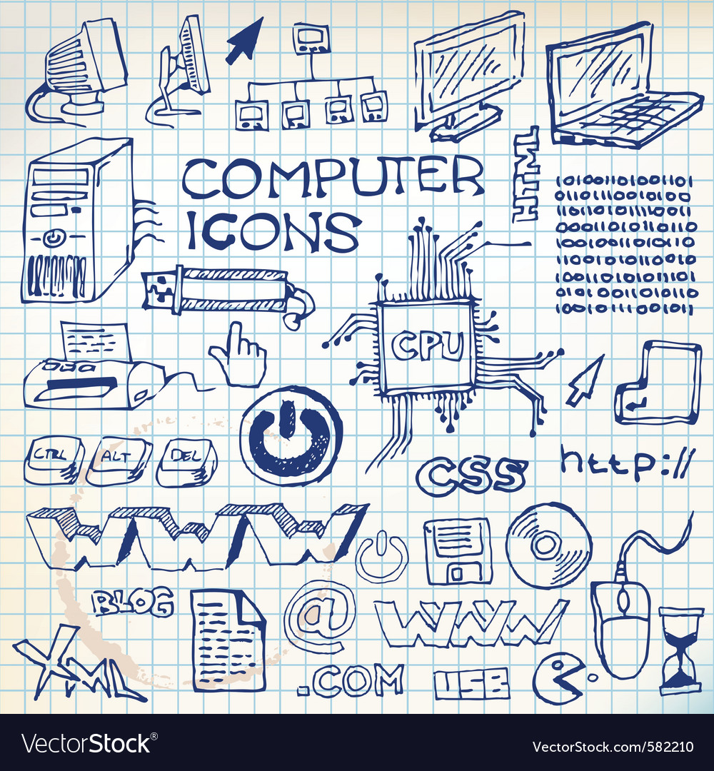 Doodle computer icons vector image