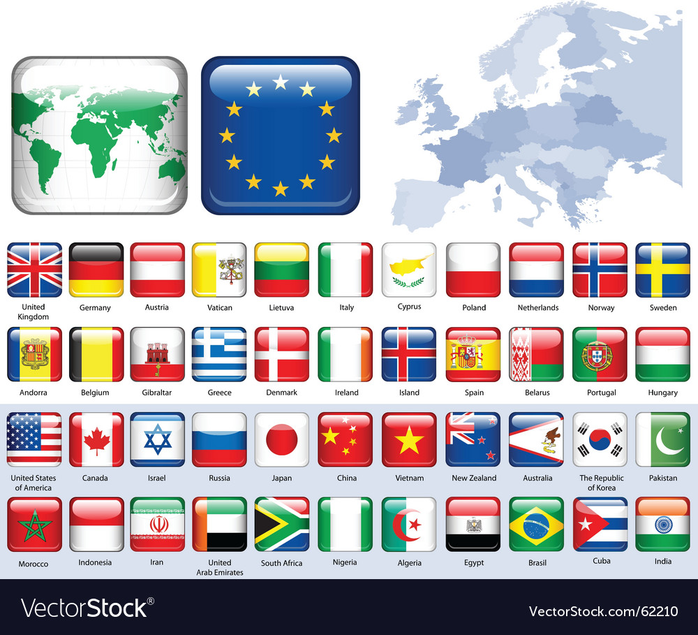 Set of flags glossy buttons vector image
