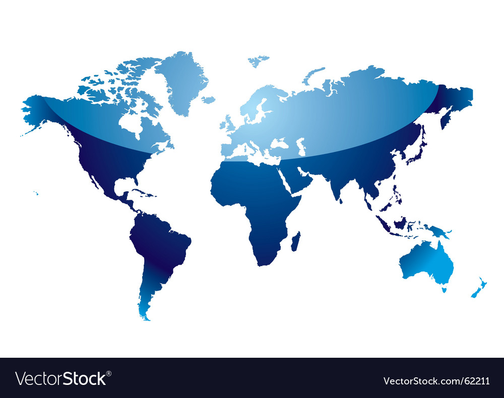 Modern blue world map with light reflection and coast outline. Keywords: