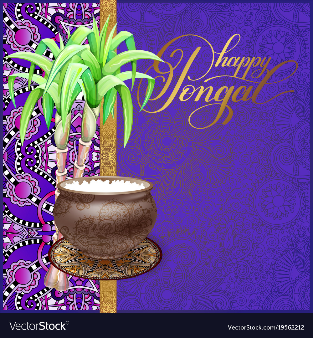 Happy pongal greeting card to south indian harvest happy pongal greeting card to south indian harvest vector image kristyandbryce Images